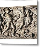 Sarcophagus With Hunting Scene, 3rd C Metal Print