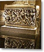 Sarcophoghus Reflected In Antalya Archeological Museum-turkey  Metal Print