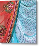 Saree In The Market Metal Print