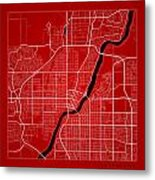 Saskatoon Street Map - Saskatoon Canada Road Map Art On Color Metal Print