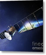 Satellite Communications With Earth Metal Print by Johan Swanepoel