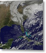 Satellite View Of A Noreaster Storm Metal Print