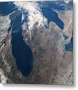 Satellite View Of Great Lakes Metal Print