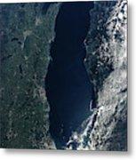 Satellite View Of Lake Michigan Metal Print