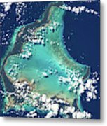 Satellite View Of Turks And Caicos Metal Print