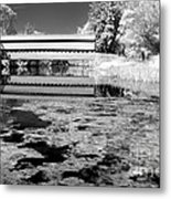 Saucks Bridge - Pond - Bw Metal Print