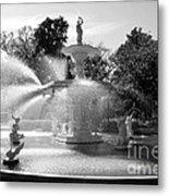 Savannah Fountain - Black And White Metal Print