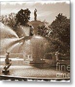 Savannah Fountain In Sepia Metal Print