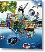 Save The World Recycle Metal Print