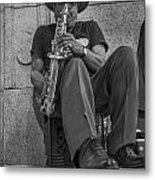 Sax Player In Chicago  Metal Print