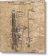 Saxophone Patent Design Illustration Metal Print