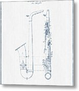 Saxophone Patent Drawing From 1899 - Blue Ink Metal Print