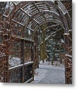 Garden Entrance During Winter Snow At Sayen Gardens Metal Print