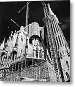 scaffolding and cranes above Sagrada Familia Barcelona Catalonia Spain Metal Print