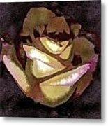 Scanned Rose Water Color Digital Photogram Metal Print
