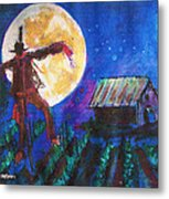 Scarecrow Dancing With The Moon Metal Print