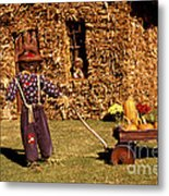 Scarecrows Play Too Metal Print