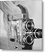Scarf Camera In Black And White Metal Print