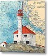 Scarlett Pt Lighthouse Bc Canada Chart Art Metal Print