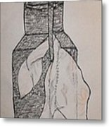 Scarved Wicker Jar Metal Print