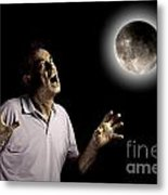 Scary Man Under Cloudy Moon Metal Print