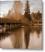 Scenic Golden Wooden Bridge Tree Reflection On The Deschutes River Metal Print