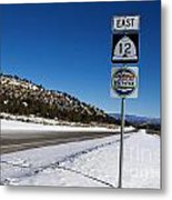 Scenic Highway 12 With Snow Utah Metal Print