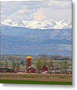 Scenic View Looking Over Anderson Farms Up To Rockies Metal Print