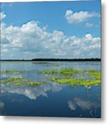 Scenic View Of A Lake Against Cloudy Metal Print