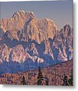 Scenic View Of Sunrise On Mooses Tooth Metal Print