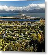 Scenic View Overlooking The Town Of Metal Print