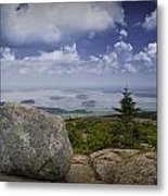 Scenic View With Boulder On Top Of Cadilac Mountain Metal Print