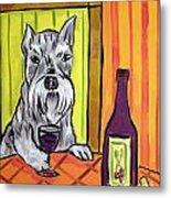 Schnauzer At The Wine Bar Metal Print by Jay  Schmetz