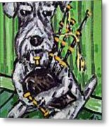 Schnauzer Playing Bagpipes Metal Print by Jay  Schmetz