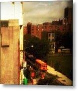 School Bus - New York City Street Scene Metal Print