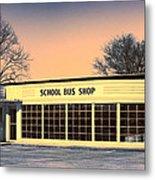 School Bus Repair Shop Metal Print