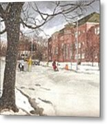 School Days In Medford - Brooks School Metal Print