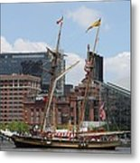 Schooner Arriving At Baltimore Inner Harbor Metal Print
