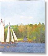 Schooner Castine Harbor Maine Metal Print