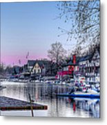Schuylkill River And Boathouse Row Philadelphia Metal Print by Bill Cannon