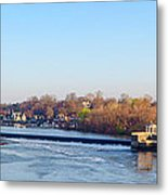 Schuylkill River At Boathouse Row And  The Fairmount Waterworks Metal Print by Bill Cannon