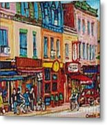 Schwartzs Deli And Warshaw Fruit Store Montreal Landmarks On St Lawrence Street  Metal Print