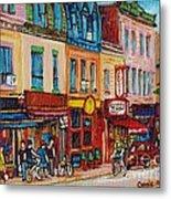 Schwartzs Deli And Warshaw Fruit Store Montreal Landmarks On St Lawrence Street  Metal Print