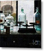 Science - Balance And Bottles In Chem Lab Metal Print