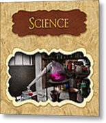 Science Button Metal Print by Mike Savad