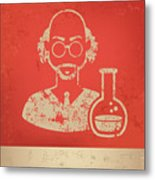 Scientist On Red Background,poster Metal Print