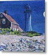 Scituate Light By Night Metal Print