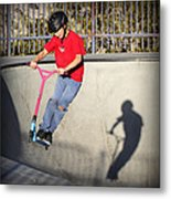 Scooter Flying Metal Print