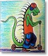Scooter Iguana Metal Print