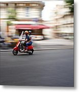 Scooter In Paris Metal Print